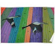 Migrating over Tulip Fields Poster