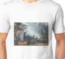Temple Bathed in Sunlight through Smoke Unisex T-Shirt