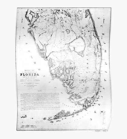 Vintage Map of Southern Florida (1856) Poster
