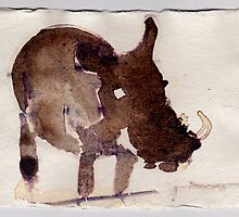 Wart Hog, 2007 - ink on khadi by phoebetodd