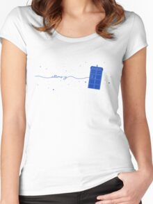 Allons-y to the TARDIS (in blue) Women's Fitted Scoop T-Shirt