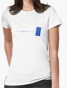 Allons-y to the TARDIS (in blue) Womens Fitted T-Shirt