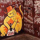 Stick Figures and the Cat. Croft Alley. by John Sharp