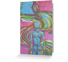 Man following natural path intune with nature and his soul Greeting Card