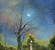 (The Night Calls to Her) By Fantasy Fairytale Landscape Artist By Philippe Fernandez by Philippe Fernandez