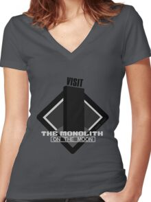 The Moon Monolith Women's Fitted V-Neck T-Shirt