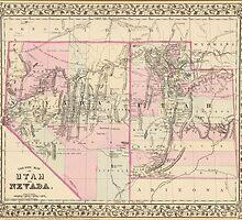 Vintage Map of Nevada and Utah (1880)  by BravuraMedia