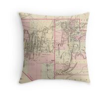 Vintage Map of Nevada and Utah (1880)  Throw Pillow