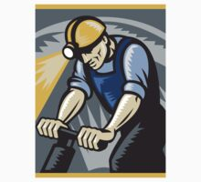 Coal Miner Drilling Pneumatic Drill Retro Woodcut by patrimonio