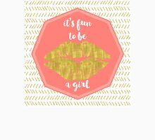 Its fun to be a girl coral, gold sentiment text art Womens Fitted T-Shirt