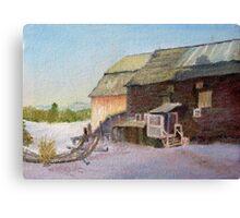 Quebec Farm in Winter Canvas Print