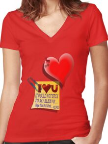 Valentine Heart and Love Note Women's Fitted V-Neck T-Shirt