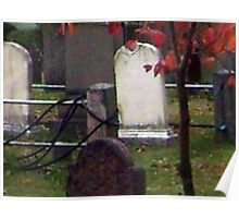 Ghostly Little Boy against a pole at the Sleepy Hollow Cemetery Poster