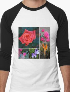 FLORAL COLLAGE -MIXED FLOWERS Men's Baseball ¾ T-Shirt