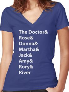 The Doctor and His Many Companions Women's Fitted V-Neck T-Shirt
