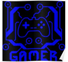 Blue Circuit Gamer Poster