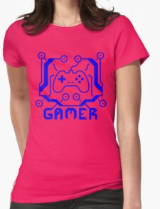 Blue Circuit Gamer Womens Fitted T-Shirt