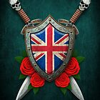 Union Jack British Flag on a Worn Shield and Crossed Swords by Jeff Bartels