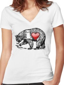 I LOVE BEAR Women's Fitted V-Neck T-Shirt