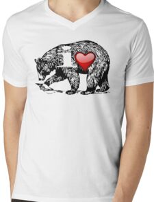 I LOVE BEAR Mens V-Neck T-Shirt
