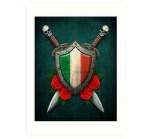 Italian Flag on a Worn Shield and Crossed Swords Art Print
