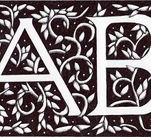 William Morris Inspired Monogram AB by Donna Huntriss