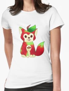 FRUIT CATS: Macintosh Apple Cat Womens Fitted T-Shirt