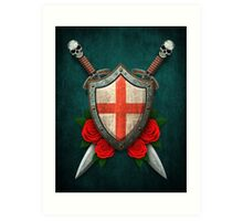 English Flag on a Worn Shield and Crossed Swords Art Print