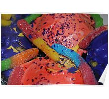 Birthday Cupcakes with Gummy Worms Poster