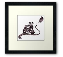 Italian Motive surreal black and white pen ink drawing Framed Print