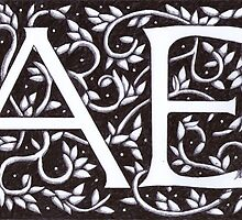 William Morris Inspired Monogram AE by Donna Huntriss