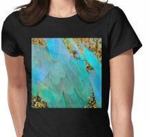 Twee pastel colors feather Fantasy art, gold sparkles Womens Fitted T-Shirt