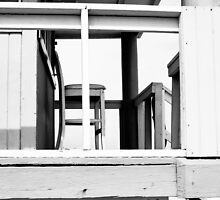 Lifeguard hut - Miami Beach - Black and White by adlad