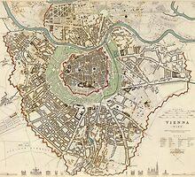 Vintage Map of Vienna Austria (1833) by BravuraMedia