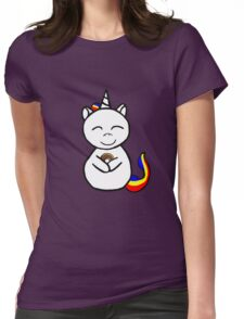 unicorn loves donuts Womens Fitted T-Shirt