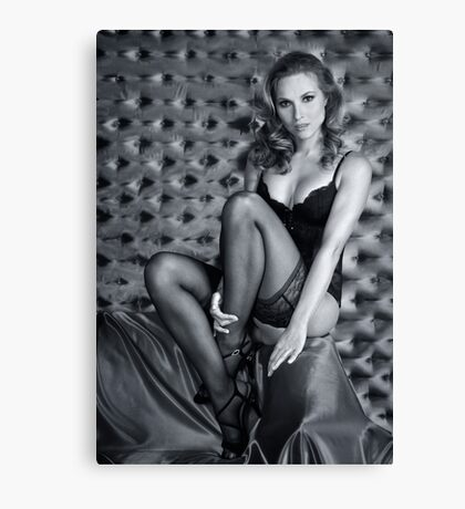 Sexy Lingerie Model posing pretty at studio vintage background Canvas Print
