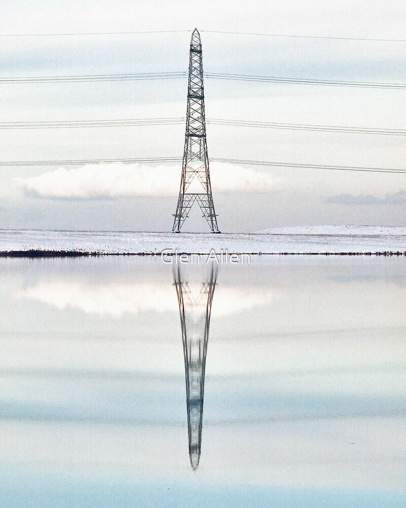 Winter Pylon Reflections HDR Hi Key by Glen Allen