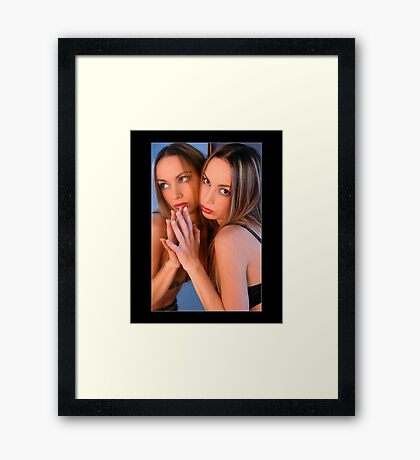Portret of young blond girl in the studio with mirror Framed Print