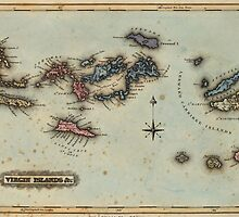 Vintage Map of The Virgin Islands (1823) by BravuraMedia