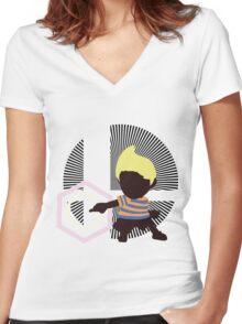 Lucas (Down Taunt, Blue/Orange) - Sunset Shores Women's Fitted V-Neck T-Shirt
