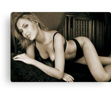 a young blonde woman posing in her bedroom 2 Canvas Print