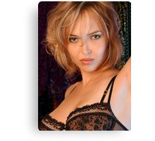 Beautiful blond woman in black bra Canvas Print