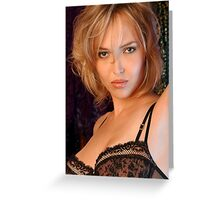Beautiful blond woman in black bra Greeting Card