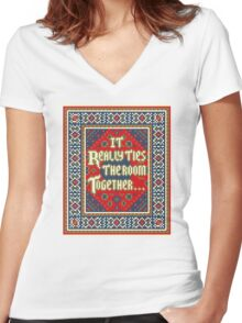 IT REALLY TIES THE ROOM TOGETHER Women's Fitted V-Neck T-Shirt