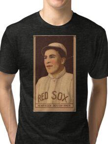 Benjamin K Edwards Collection Olaf Henriksen Boston Red Sox baseball card portrait Tri-blend T-Shirt
