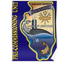 SSN-786 USS Illinois Pre-commissioning Unit Crest for Dark Colors Poster