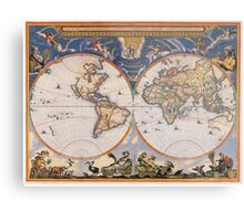 Vintage Map of The World (1662) Metal Print