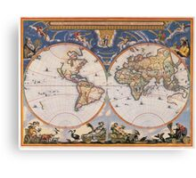 Vintage Map of The World (1662) Canvas Print