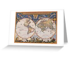 Vintage Map of The World (1662) Greeting Card