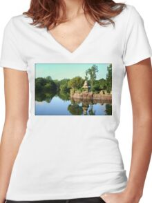 Asian Landscape Reflection in Water Women's Fitted V-Neck T-Shirt